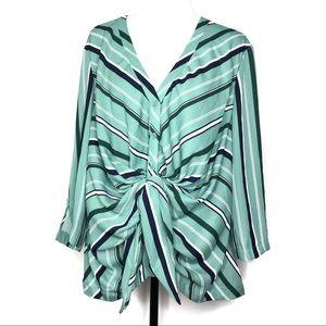 7th Avenue Green Striped Blouse Size XL